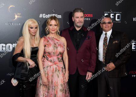 """Stock Photo of John Travolta, Kelly Preston, John Gotti, Jr., Victoria Gotti. Victoria Gotti, left, Kelly Preston, John Travolta and John Gotti, Jr. attend the premiere of """"Gotti"""" at the SVA Theatre, in New York"""