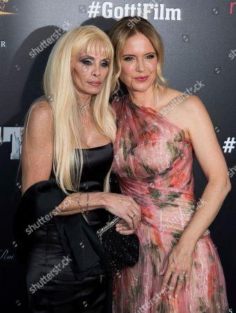 """Victoria Gotti, Kelly Preston. Victoria Gotti, left, and Kelly Preston attend the premiere of """"Gotti"""" at the SVA Theatre, in New York"""