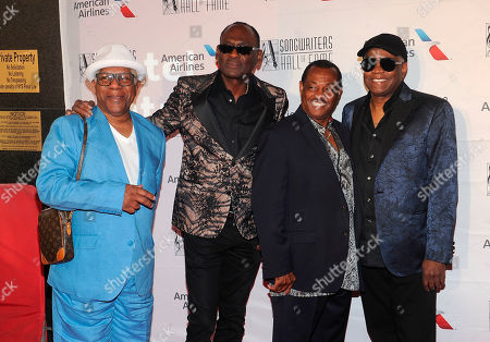 Dennis Thomas and Hall of Fame inductees, Geroge Brown, Robert Bell and Ronald Bell at. Dennis Thomas and Hall of Fame inductees, Geroge Brown, Robert Bell and Ronald Bell of the Music Group Kool and the Gang arrive during the 49th annual Songwriters Hall of Fame Induction and Awards gala at the New York Marriott Marquis Hotel, in New York