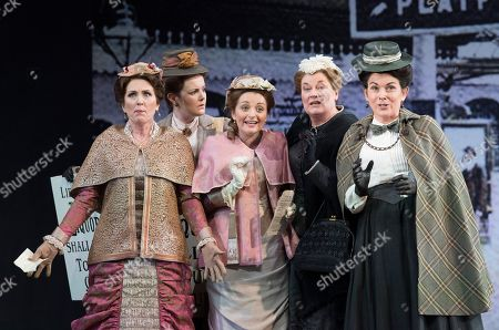 Mary Dunleavy as Alice Ford, Soraya Mafi as Nannetta, Yvonne Howard as Mistress Quickly,  Victoria Simmonds as Meg Page