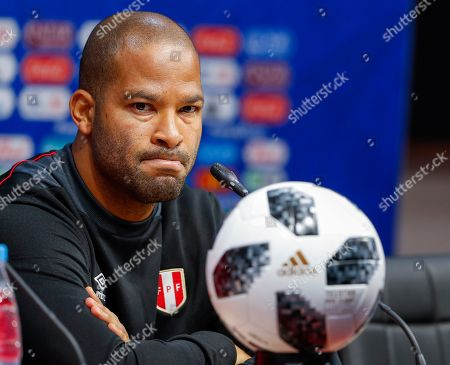 Peru defender Alberto Rodriguez participates in a press conference at Mordovia Arena in Saransk, Russia, 15 June 2018. Peru will face Denmark in their FIFA World Cup 2018 Group C soccer match on 16 June 2018 at Mordovia Arena in Saransk.