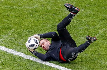Peru goalkeeper Jose Carvallo participates in a training session at Mordovia Arena in Saransk, Russia, 15 June 2018. Peru play Denmark in their first Group C match 16 June. The FIFA World Cup 2018 will take place in Russia from 14 June to 15 July 2018.