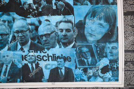 Pictures of the younger (nowadays) German Chancellor Angela Merkel (up-R), the former German Chancellor Helmut Kohl (down-L and down-2-L), former German Minister of defense Franz Josef Strauss (down-3-L), former German Minister for Foreign Affairs, Joseph 'Joschka' Fischer (R) and former leader of the German Democratic Republic (GDR) Erich Honecker (3-R) amongst other personalities, can be seen as part of the ceiling of the newly created hall during the ceremonial act '70 years of social market economy' in Berlin, Germany, 15 June 2018. The ceremony took place in the newly created Ludwig Erhard Hall at the Economy Ministry, the former auditorium of the ministry. Ludwig Erhard, the former German Minister of Economy (1949-1963) and German Chancellor (1963-1966), is regarded the father of the German post-war 'Wirtschaftswunder' (economic miracle) and the social market economy.