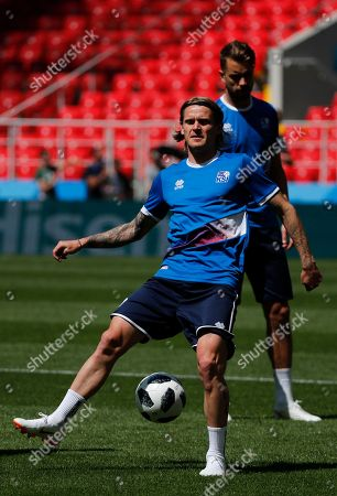 Iceland's Ari Skulason controls the ball during Iceland's official training on the eve of the group D match between Argentina and Iceland at the 2018 soccer World Cup in Spartak Stadium in Moscow, Russia