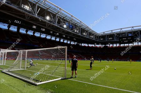 Iceland goalkeeper Runar Runarsson, left, catches a ball during Iceland's official training on the eve of the group D match between Argentina and Iceland at the 2018 soccer World Cup in the Spartak Stadium in Moscow, Russia