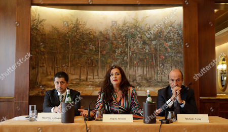 Stock Picture of Angela Missoni, center, is flanked by Michele, Norsa, right, and Maurizio Tamagnini during a press conference in Milan, Italy, . The family-owned Missoni fashion house has announced that the Italian investment fund FSI will take a 41.2 percent stake to help expand the business