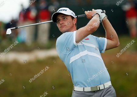 Cole Miller plays his shot from the 17th tee during the second round of the U.S. Open Golf Championship, in Southampton, N.Y