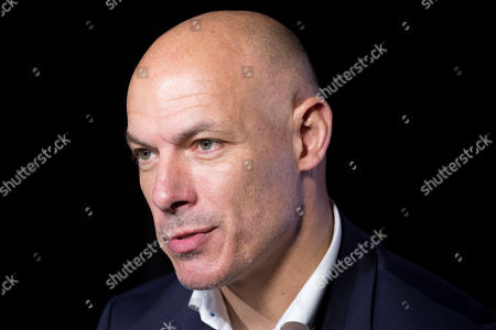 Stock Image of Howard Webb, general manager of the Professional Referee Organization, talks during an interview, in New York. The former Premier League referee worked at the 2010 and 2014 World Cups, including 2010 World Cup final