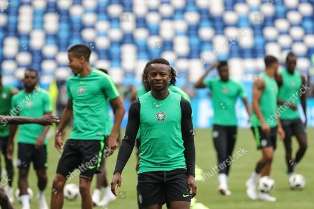 Ogenyi Onazi (C) of Nigeria attends a training session in Kaliningrad, Russia, 15 June 2018. Nigeria will face Croatia in the FIFA World Cup 2018 Group D preliminary round soccer match on 16 June 2018.