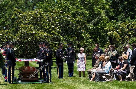 U.S. Army Chaplain (Capt.) Eric Bryan speaks at the burial of U.S. Army Air Forces 2nd Lt. Robert R. Keown at Arlington National Cemetery in Arlington, Va., on . Keown was piloting his P-38 aircraft when it crashed in Papua New Guinea in 1944