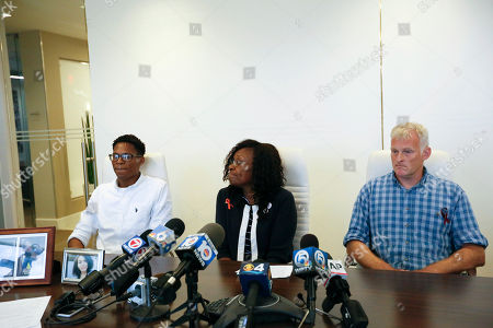 Anne Ramsay, Vinnie Ramsay, Curtis Page. Curtis Page, left, cousin of Parkland High School shooting victim Helena Ramsay, and her parents Anne, center, and Vinnie Ramsay speak to the media during a news conference, in Fort Lauderdale, Fla. The family is suing to obtain mental health records of shooting suspect Nikolas Cruz