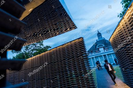 Serpentine Pavilion 2018, designed by the Mexican architect Frida Escobedo. The courtyard-based design draws on both the domestic architecture of Mexico and British materials. It is alligned the Prime Meridian line at London?s Royal Observatory in Greenwich.