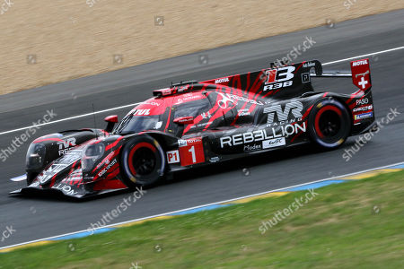 Rebellion Racing (starting no.1) in a Rebellion R13 Gibson with Andre Lotterer of Germany, Neel Jani of Switzerland and Bruno Senna of Brazil during the Le Mans 24 Hours race in Le Mans, France, 16 June 2018. The race is scheduled to finish at 3pm on the 17 June.
