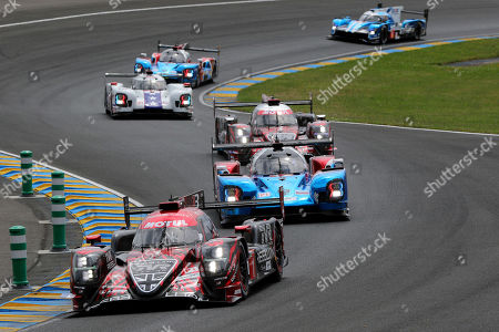 (front-back) Rebellion Racing (starting no.1) in a Rebellion R13 Gibson with Andre Lotterer of Germany, Neel Jani of Switzerland and Bruno Senna of Brasil in front of SMP Racing (starting no.17) in a BR engineering BR1 AER with Stephane Sarrazin of France, Egor Orudzhev of Russia and Matevoss Isaakyan of Russia during the Le Mans 24 Hours race in Le Mans, France, 16 June 2018. The race is scheduled to finish at 3pm on the 17 June.