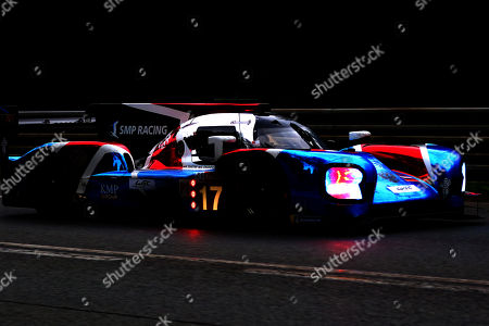 Stock Picture of SMP Racing in a BR engineering BR1 AER with Stephane Sarrazin of France, Egor Orudzhev of Russia and Matevoss Isaakyan of Russia in action at nightfall during the Le Mans 24 Hours race in Le Mans, France, 16 June 2018.