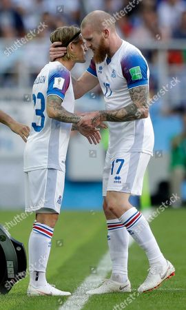 Iceland's Aron Gunnarsson is substituted by Ari Skulason during the group D match between Argentina and Iceland at the 2018 soccer World Cup in the Spartak Stadium in Moscow, Russia
