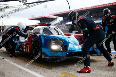 Stock Image of The BR Engineering BR1 AER driven by Stephane Sarrazin of France, Egor Orudzhev and Matevos Isaakyan, both of Russia stops in the stand, during the 86th 24-hour Le Mans endurance race, in Le Mans, western France