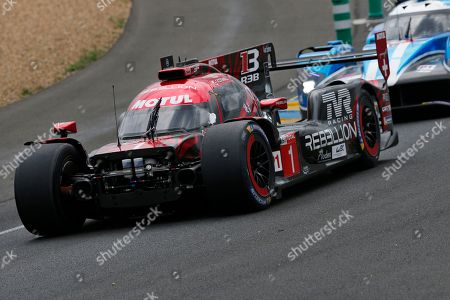 The damaged Rebellion R13 Gibson driven by Andre Lotterer of Germany, Neel Jani of Switzerland and Bruno Senna of Brazil in action, during the 86th 24-hour Le Mans endurance race, in Le Mans, western France