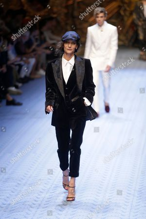 Model Marpessa Hennink wears a creation as part of Dolce & Gabbana's men's 2019 Spring-Summer collection, unveiled during the Fashion Week in Milan, Italy