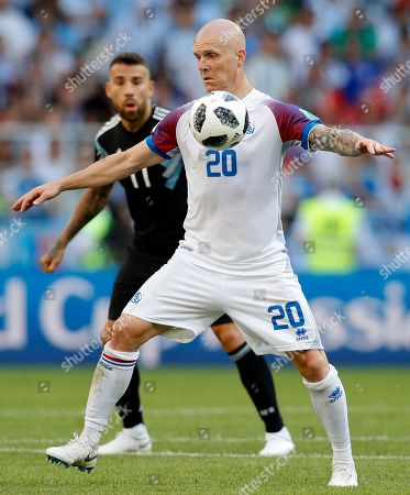 Iceland's Emil Hallfredsson controls the ball during the group D match between Argentina and Iceland at the 2018 soccer World Cup in the Spartak Stadium in Moscow, Russia