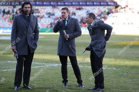Stock Photo of Victory Matfield with Jean de Villiers and Joel Stransky Supersport rugby commentator during the 2018 Castle Lager Incoming Series 2nd Test match between South Africa and England at the Toyota Stadium.Bloemfontein,South Africa. 16,06,2018 Photo by (Steve Haag JMP)