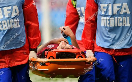Denmark's William Kvist leaves the field injured during the group C match between Peru and Denmark at the 2018 soccer World Cup in the Mordovia Arena in Saransk, Russia