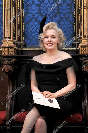 Stock Image of Marilyn Monroe Look-a-Like Suzie Kennedy, who met  Professor Stephen Hawking CH CBE FRS FRSA .