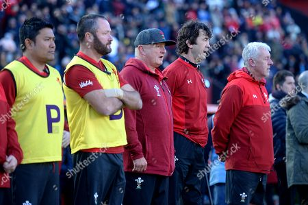 Prav Mathema, Geoff Davies, Alan Phillips, Mark Davies and John Rowlands during the anthems.