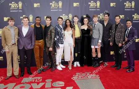 Stock Photo of 13 Reasons Why cast - Miles Heizer, Justin Prentice, Steven Silver, Brandon Larracuente, Timothy Granaderos, Alisha Boe, Devin Druid, Katherine Langford, Tommy Dorfman, Ross Butler, Brandon Flynn and Christian Navarro