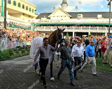 Triple Crown champion Justify, led by exercise rider Humberto Gomez, left, and groom Eduardo Luna, second from left is the center of attention in the paddock at Churchill Downs in Louisville, Ky., . Assistant trainer Jimmy Barnes, third from left, and Churchill Downs stall superintendent Steve Hargrave, right, accompany the group