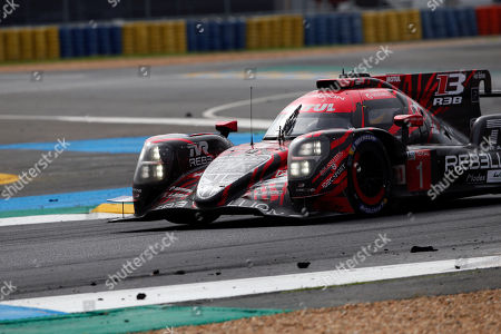 The Rebellion R13 Gibson No1 driven by Andre Lotterer of Germany, Neel Jani of Switzerland and Bruno Senna of Brazil in action, during the 86th 24-hour Le Mans endurance race, in Le Mans, western France