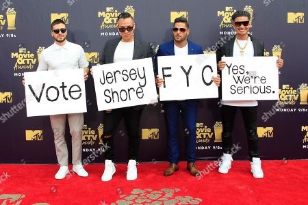 Members of the cast of TV series 'Jersey Shore' (L-R) Vinny Guadagnino, Mike Sorrentino, Ronnie Ortiz-Magro and Pauly D arrive for the 2018 MTV Movie and TV Awards at the Barker Hanger in Santa Monica, California, USA, 16 June 2018. The movies are nominated by producers and executives from MTV and the winners are chosen online by the general public.