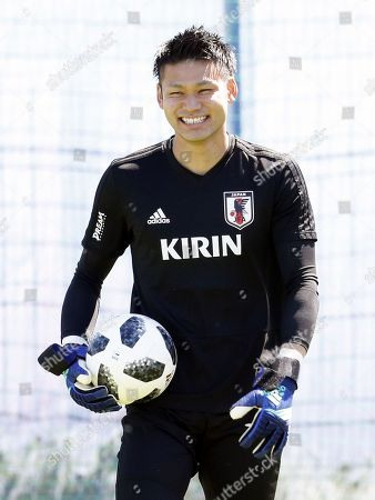 Japan's goalkeeper Kosuke Nakamura attends a training session at the  FC Rubin Training Ground sports base in Kazan, Russia, 17 June 2018. Japan will face Colombia in the FIFA World Cup 2018 Group H preliminary round soccer match on 19 June 2018.