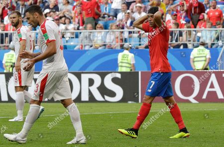 Costa Rica's Christian Bolanos reacts during the group E match between Costa Rica and Serbia at the 2018 soccer World Cup in the Samara Arena in Samara, Russia