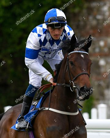 Stock Picture of Sister Celine ridden by Harry Burns goes down to the start  of The Shadwell Stud Racing Excellence Apprentice Handicap  during Fathers Day Racing at Salisbury Racecourse on 17th June 2018