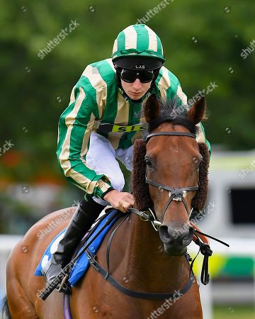 Genuinely Crowded ridden by Luke Morris goes down to the start of The Derek Burridge Golf & Racing Trophies Handicap  during Fathers Day Racing at Salisbury Racecourse on 17th June 2018