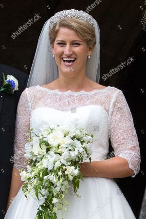 Celia McCorquodale in Stoke Rochford, Lincolnshire on June 16th after their wedding.The bride wore Princess Diana's tiara
