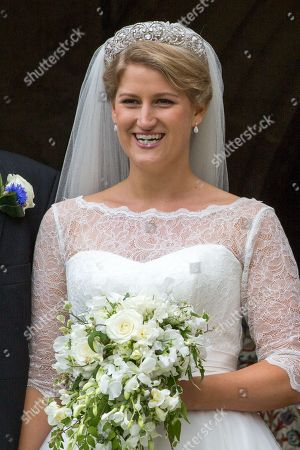 Celia McCorquodale in Stoke Rochford, Lincolnshire on June 16th after their wedding.The bride wore Princess Diana's tiara.