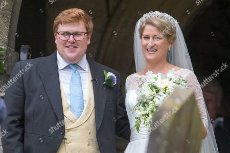 Celia McCorquodale and George Woodhouse in Stoke Rochford, Lincolnshire on June 16th after their wedding.The bride wore Princess Diana's tiara