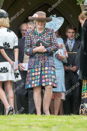 Lady Jane Fellowes attending the wedding of Celia McCorquodale