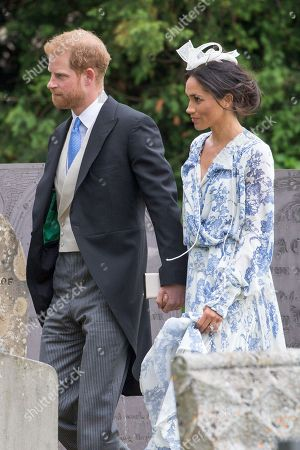 Meghan Duchess of Sussex and Prince Harry arriving for the wedding of Celia McCorquodale