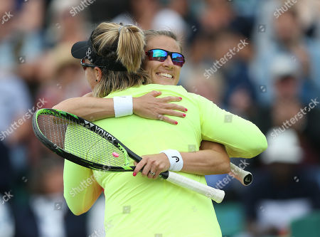 Poland's Alicja Rosolska and Abigail Spears of USA celebrate victory