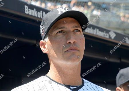 New York Yankees' Andy Pettitte waits to be introduced at the Yankees Old Timers' Day baseball game, at Yankee Stadium in New York