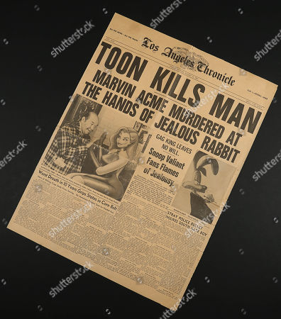 Stock Image of A Los Angeles Chronicle newspaper from Robert Zemeckis' Oscar winning detective comedy Who Framed Roger Rabbit. Pivotal to the film's plot, newspapers were used by Eddie Valiant (Bob Hoskins) to uncover the truth about Marvin Acme's (Stubby Kaye) will.