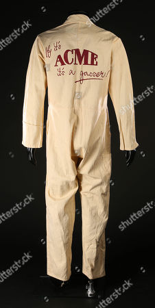 An Acme jumpsuit from Robert Zemeckis' Oscar winning detective comedy Who Framed Roger Rabbit. Acme employees wore their jumpsuits during the scenes at the Acme warehouse, where the police were investigating the murder of its owner, Marvin Acme (Stubby Kaye).