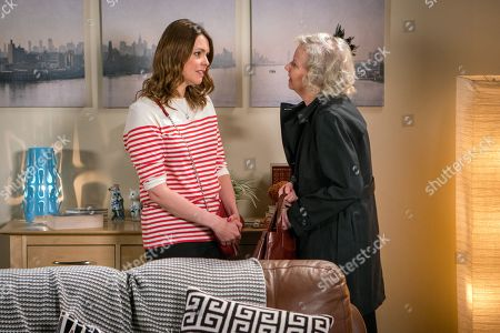 Stock Photo of Ep 9492 & Ep 9493 Tuesday 26th June 2018 Daniel has persuaded the residents to attend Vinny's funeral so Flora, as played by Eileen Davies, thinks her son was well liked. When Tracy Barlow, as played by Kate Ford, hears Flora is worth £250k she makes out she was Harvey's best friend and Flora might want to invest in the Florist.