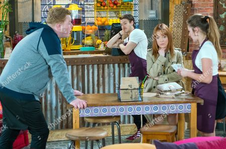 Stock Photo of Ep 9490 & Ep 9491 Monday 25th June 2018 Kayla, as played by Mollie Winnard, panics when her mum Marsha, as played by Joanne Mitchell, comes into Speed Daal and recognises Craig Tinker, as played by Colson Smith. Ryan Connor, as played by Ryan Prescott, observes her anxiety with interest.