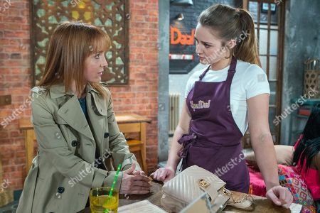 Ep 9490 & Ep 9491 Monday 25th June 2018 Kayla, as played by Mollie Winnard, panics when her mum Marsha, as played by Joanne Mitchell, comes into Speed Daal and recognises Craig Tinker, as played by Colson Smith. Ryan Connor, as played by Ryan Prescott, observes her anxiety with interest.