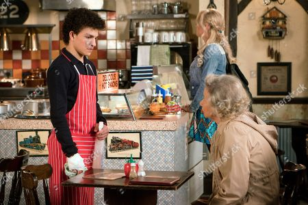Ep 9496 Monday 2nd July 2018 - 1st Ep Simon Barlow, as played by Alex Bain, returns from pleading guilty in court and apologises to all his victims including Flora, as played by Eileen Davies, offering to wash up in the cafe for free.