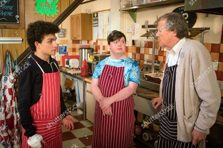 Stock Picture of Ep 9496 Monday 2nd July 2018 - 1st Ep Simon Barlow, as played by Alex Bain, returns from pleading guilty in court and apologises to all his victims including Flora, as played by Eileen Davies, offering to wash up in the cafe for free.